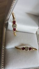 14k Natural Ruby & Clear Cz Shepards Hook Earrings