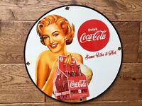 "Vintage Coca Cola Heavy Porcelain Advertising Sign 12"" Soda Cola Sign"