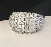 Vintage Sterling Silver Ring Rows of Cubic Zirconia Stones 925 4X