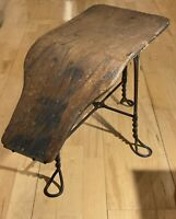 Antique The Chicago Wire Chair Co. Twisted Steel Shoe Salesman Fitting Stool