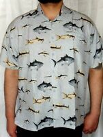 MENS GREY SWORD  FISH PRINT FISHERMAN CAPTAIN SAILOR HAWAIIAN SHIRT