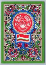 RARE Soviet Tajikistan USSR State Emblem Coat & Flag 1972 Postcard