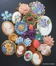 LOT of (20) Antique VINTAGE porcelain flower PINS earrings BUTTON lovely CAMEOS