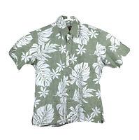 RJC Mens Medium Hawaiian Aloha Shirt Green Floral Vacation Button Up 100% Cotton