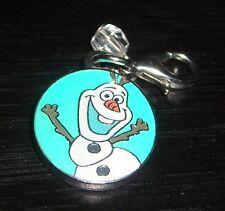 DISNEY FROZEN OLAF THE SNOWMAN WHITE STONE LOBSTER CLASP BRACELET CHARM