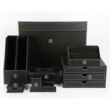 Set of 7pcs Classic Office Desk Organizer Leather File Holder Storage Box Black