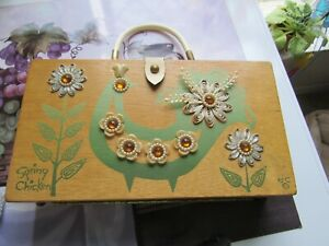 VINTAGE THE ORIGINAL BOX BAG BY COLLINS OF TEXAS HAND DECORATED & SIGNED 1964