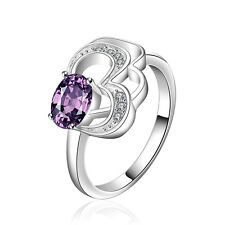 Silver Plated Purple heart bridal engagement medium ring 17.5 mm size O FR253