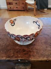 Antique Hand Painted Large Victorian Pottery Footed Bowl 19C.