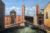 1800s Venice Italian Canal Boats Gondolas 24X36 Oil On Canvas Painting STRETCHED