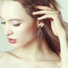 Drop long earrings Dangle earrings Retro Vintage dark blue Teardrop Rhinestone