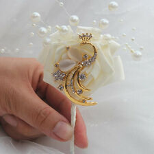 Peacock Boutonniere Groom Wedding Crystal Corsage Bride Pearl Beaded Flower Even