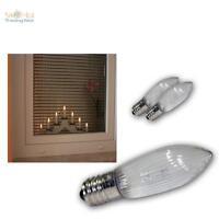 3x LED E10 Ersatz-Glühbrine klar-spitz f Lichterkette Schwibbogen Glühlampe warm