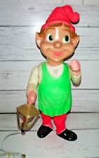 "Vintage 22"" Union Blow Mold Hard Plastic Jointed Christmas Elf w/ Lantern Light"