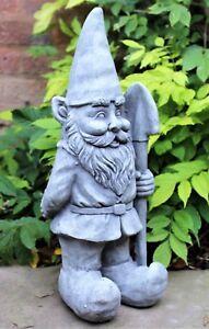 Garden Ornament Ceramic Gnome Stone Effect 48 cm Tall Outdoor or Indoor