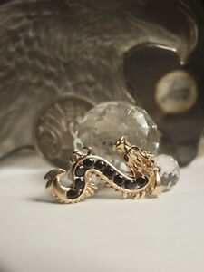 GENUINE 9CT YELLOW GOLD DRAGON PENDANT WITH NATURAL SAPPHIRE & RUBY