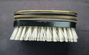 Vintage Black Leather Gold trim Manicure Set Zipper Case w/Brush leather/Austria