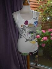 DESIGUAL $188 White More for Less Sleeveless Racer Back Stretch Tunic Top Xsmall