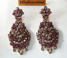 Diamant Ohrringe 585 Gold & Silber Ohrhänger Ohrgehänge old Earrings / BL 373