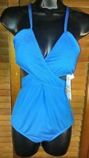 NWT Laundry By Design One-piece Swimsuit Blue cross front and back size medium