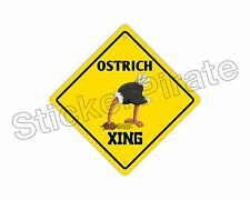 """*Aluminum* Ostrich Crossing Funny Metal Novelty Sign 12""""x12"""""""