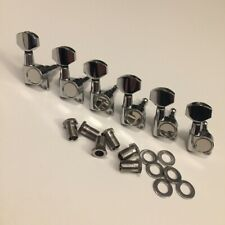 GUITAR TUNER MACHINE SET - Straight Mounting Tab - 6 In Line - CHROME