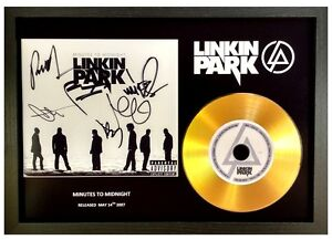 LINKIN PARK - MINUTES TO MIDNIGHT - SIGNED GOLD CD DISC COLLECTABLE MEMORABILIA