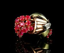 VINTAGE RETRO NATURAL 1.47ctw BURMESE RUBY DIAMOND 18K ROSE WHITE GOLD RING