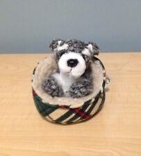 Scotty dog Finger Puppet Mini Schnauzer In Bed Animal Soft Doll Plush puppy vtg