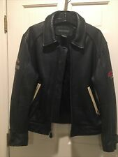 Banana Republic Black Leather Motorcycle Jacket 153 Mph Br Standard Wind Speed M