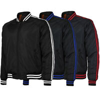 Men's Slim Fit Striped Zip Up Water Resistant Flight Bomber Jacket TONY