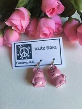 Silvertone Pink Piggy PIG Standing Jingle Dangle Earrings
