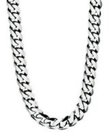 "Fred Bennett 21.75"" Polished Stainless Steel Men's Slimline Curb Link Necklace"