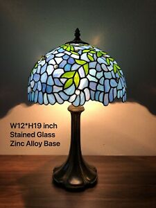 """Enjoy Tiffany Style Table Lamp Blue Leaf Stained Glass Vintage Antique 19""""H*12""""W"""