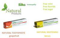 BILKA HOMEOPATHY TOOTHPASTE FREE Mint,Fluoride,Sugar,Paraben Lemon or Grapefruit