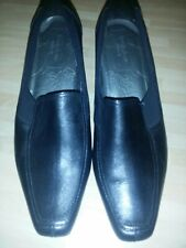 Womens Wider Fit M&S Footglove Black Leather Court Shoes Heel Size uk 7.5