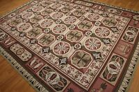 9'x 12' Hand woven French Needlepoint Aubusson 100% wool Area rug 9x12 Green
