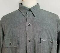 Ralph Lauren Mens sz 2XL Gray Cotton Long Sleeve Pockets Dungaree Workshirt