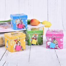 Cute Square Modeling Iron Piggy Bank Money Saving Box Kids Coin Deposit Boxx od
