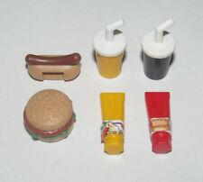 Playmobil Lot Fast Food Burger + Hot Dog + Sauces + Boisson Nourriture Foods NEW