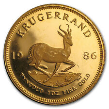 1986 South Africa 1 oz Proof Gold Krugerrand (Scruffy)