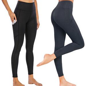 Women High Waist Leopard Leggings Yoga Pants Gym Animal Print Trendy With Pocket