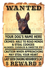 Manchester Terrier Dog Wanted Poster Flex Fridge Magnet Personalized Name