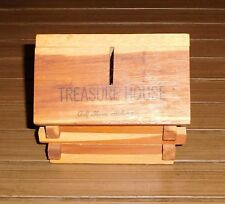 Vintage Wood Log Cabin Piggy Bank Treasure House Golf Shores Alabama - Souvenir