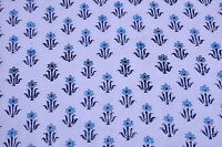 2.5 yards NaturalCotton Floral Indian Handmade Block Printed Fabric  Sanganer