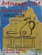 """EXPO ARTISANAT d'ART TOURNON 1961"" Maquette gouache s/papier entoilée R. ROBERT"