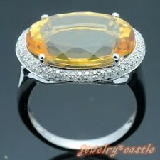 STERLING SILVER 925 OVAL CUT NATURAL CITRINE DIAMOND JEWELRY ENGAGEMENT RING