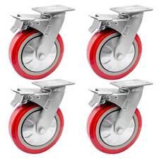"""4 Pack 8"""" Heavy Duty Caster Wheel Swivel Plate Maroon Pu With Brake Wheels"""