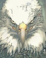 "PRINT Bald Eagle Bird Portrait Animal Wildlife Painting Bold Predator Art 14"""