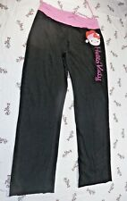 Hello Kitty Womens Junior Black Pink Glitter Logo Lounge Sweat Pants Size M 7-8
